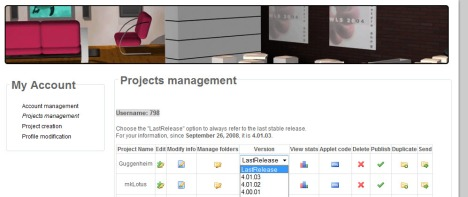 3DXplorer Project Management Page - Choosing LastRelease Version